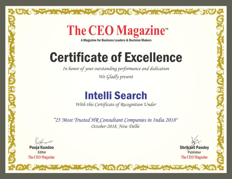 Intelli Search Certificate