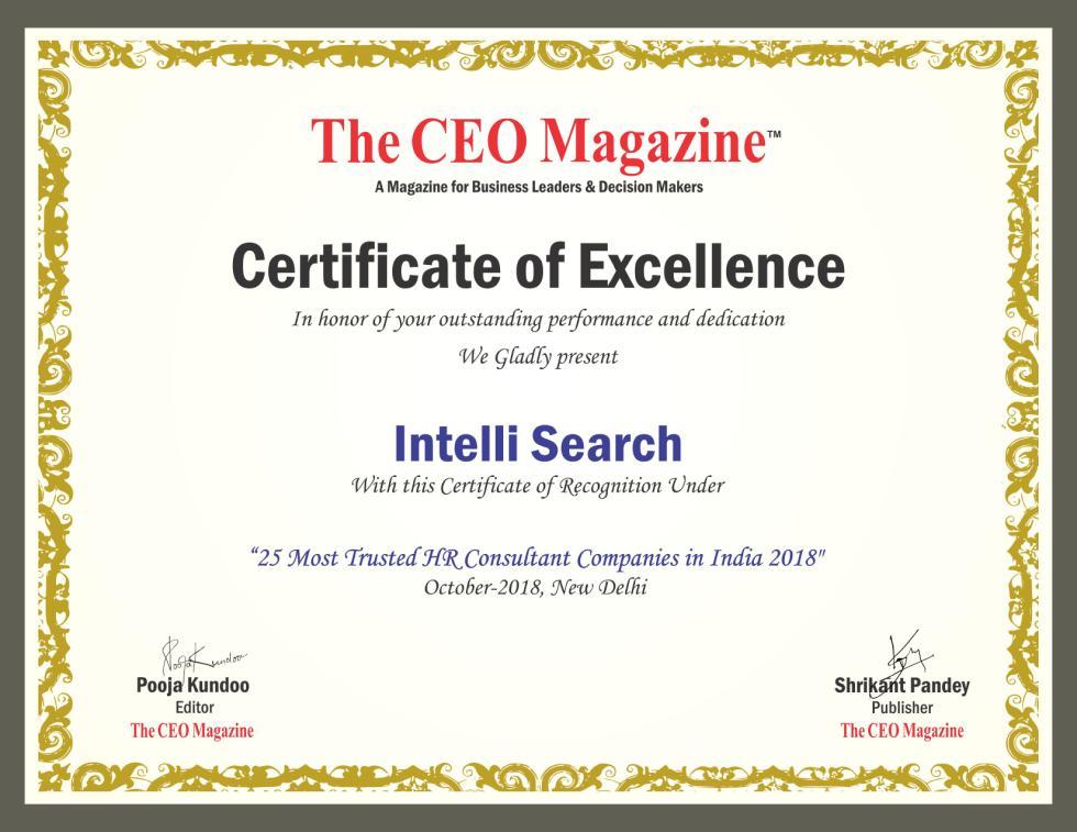 Intelli Search Certificate